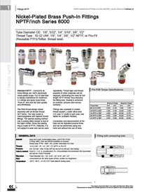 Camozzi Pneumatic Fitting NPTF inch Series 6000 brochure