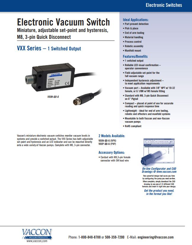 Electronic Adjustable Miniature Vacuum Switch   Vaccon Vacuum VXXP